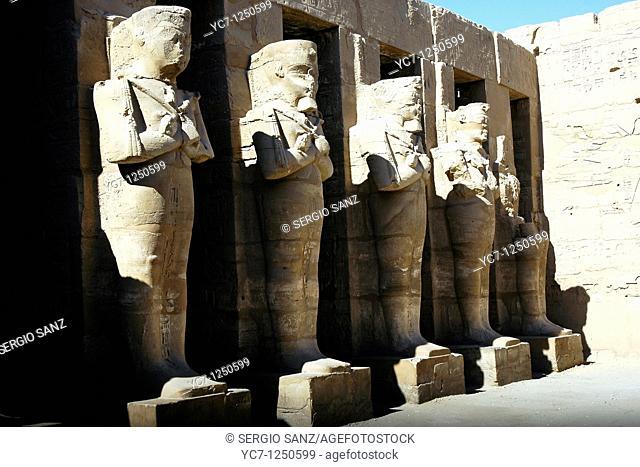 statues, karnak temple, egypt