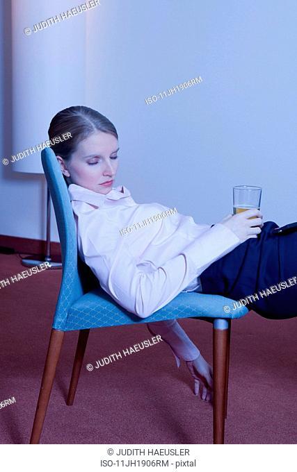 woman in hotel room, asleep
