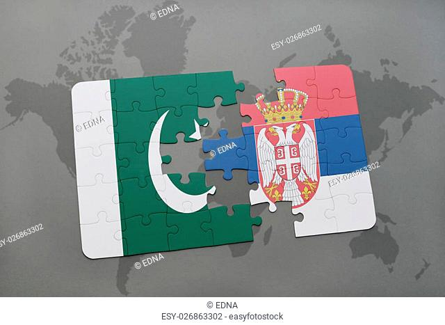puzzle with the national flag of pakistan and serbia on a world map background. 3D illustration