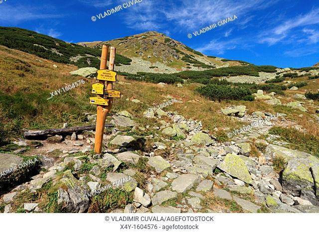 The tourist signpost on the trail to Ziarske sedlo in Rohace, part of High Tatras National Park, Slovakia
