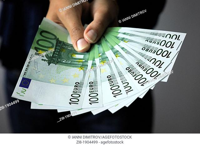 Person holds Euros Banknotes