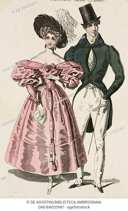Woman wearing a pink dress with puffed sleeves and black hat with white hanging feathers, and a man wearing a formal walking suit with top hat and stick