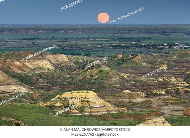 Moonrise over Terry Badlands in Southeast Montana