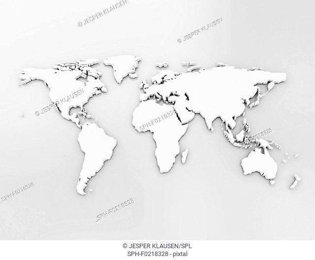 World map, illustration