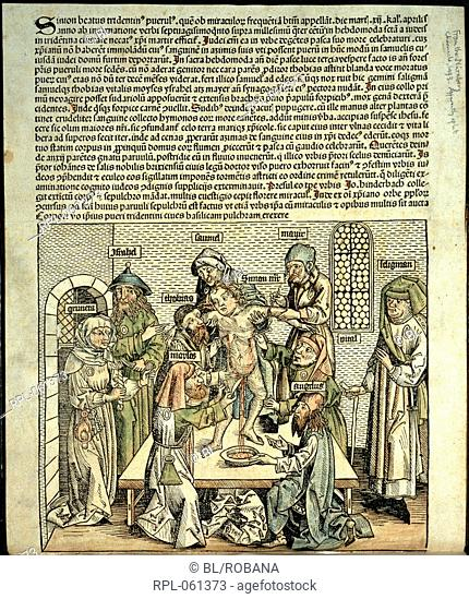 A boy being tortured to death by Jews. Detail. Image taken from Joannes Mathias tuberinus... rectorib: senatui populo: brixiano a letter dated tridenti secundo...
