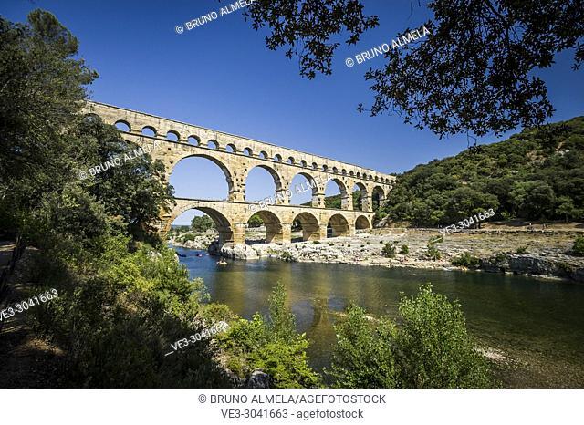 View of roman aqueduct Pont du Gard (department of Gard, region of Occitanie, France)