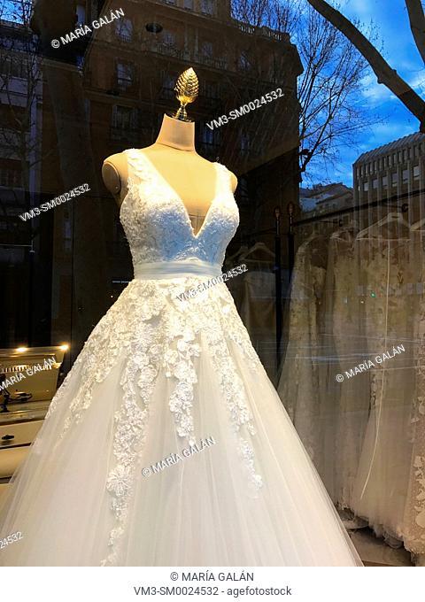 Wedding dress in a shop window. Madrid, Spain