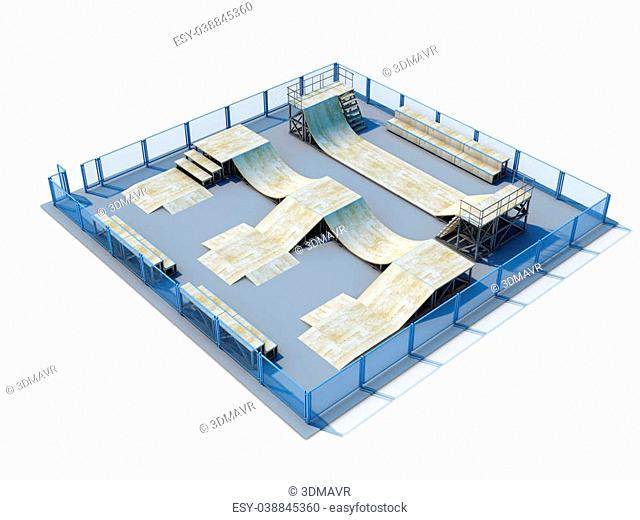 3d Skatepark nobody isolate don white background. 3d illustration