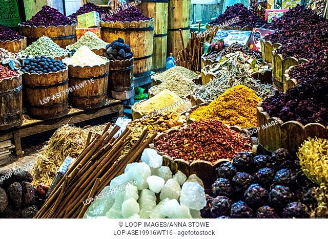 A spice stall at the night market or souk in Luxor in Egypt