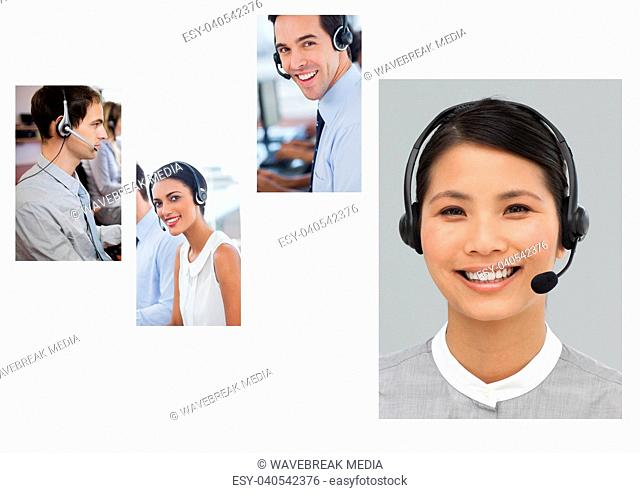 Collage of Customer Service help team in call center