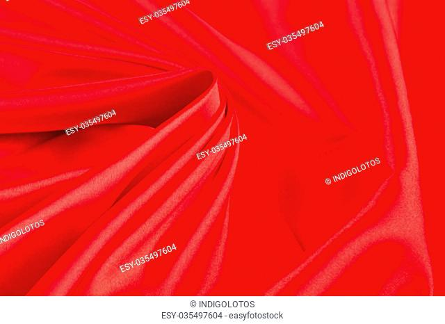 Red silk drapery. Close up on the whole background
