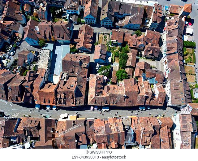Aerial view of Stein-Am-Rhein medieval city near Shaffhausen, Switzerland