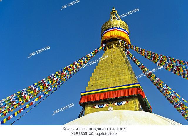 Boudhanath Stupa with Buddha eyes, Kathmandu, Nepal