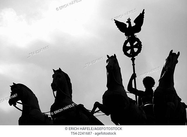 Silhouette of the Quadriga at the Brandenburg Gate in Berlin