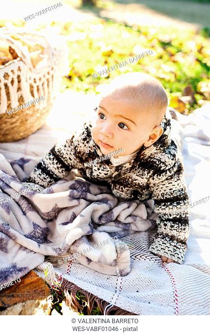 Baby boy lying on a blanket in park