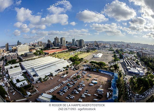 View of city of Durban or eThekwini and the Durban Convention Centre. KwaZulu Natal. South Africa