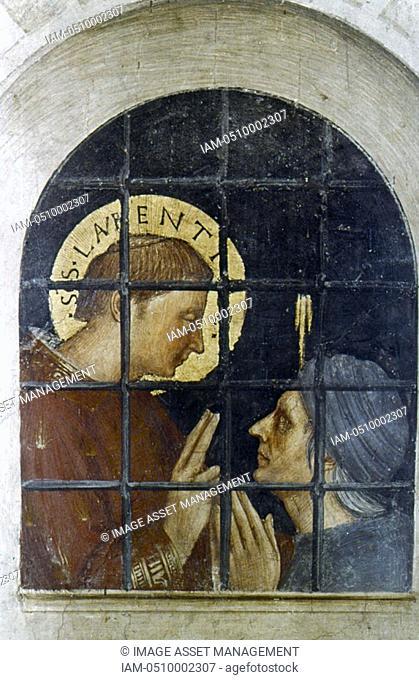 Fra Angelico Guido di Pietro/Giovanni da Fiesole c1400-55 Italian painter  'St Lawrence before the Tribunal' Judgement of St Lawrence detail: St Lawrence in...