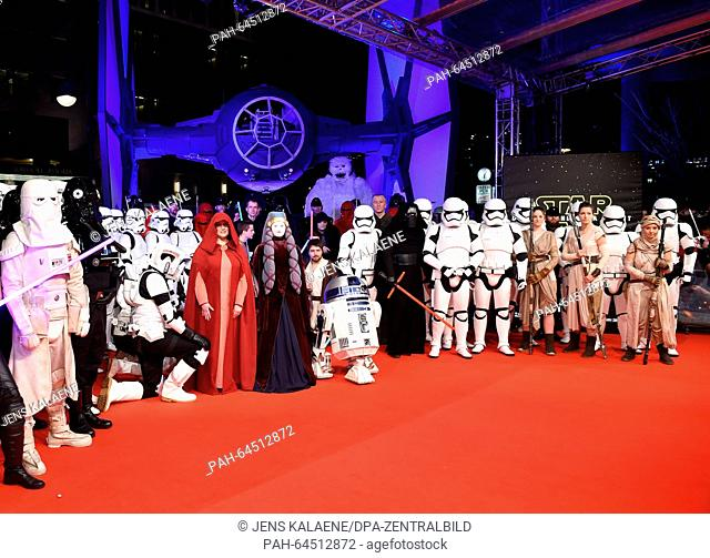 Star Wars characters pose on the red carpet at the German premiere of the new film 'Star Wars:The Force Awakens' in the Zoo Palast cinema inBerlin,Germany