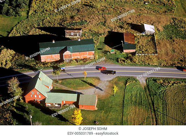 Aerial view of farm near Stowe, VT in autumn on Scenic Route 100
