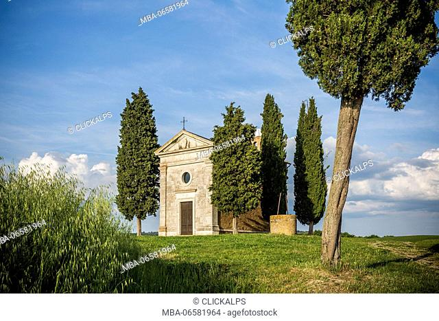 Madonna di Vitaleta chapel, San Quirico d'Orcia, Orcia Valley, Siena district, Tuscany, Italy