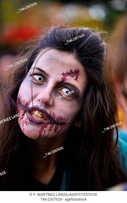 Zombie at Halloween party, Madrid, Spain