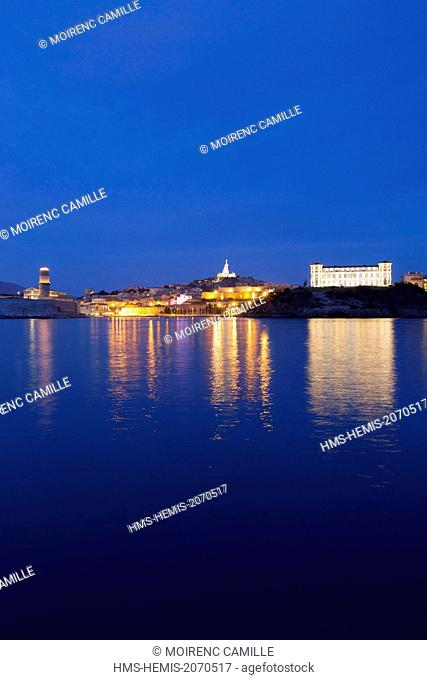 France, Bouches du Rhone, Marseille, Euromediterranee area, the Palais du Pharo, and the Notre Dame de la Garde in the background