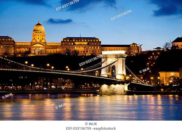 The Széchenyi Chain Bridge (Hungarian: Széchenyi lánchíd) is a suspension bridge that spans the River Danube between Buda and Pest