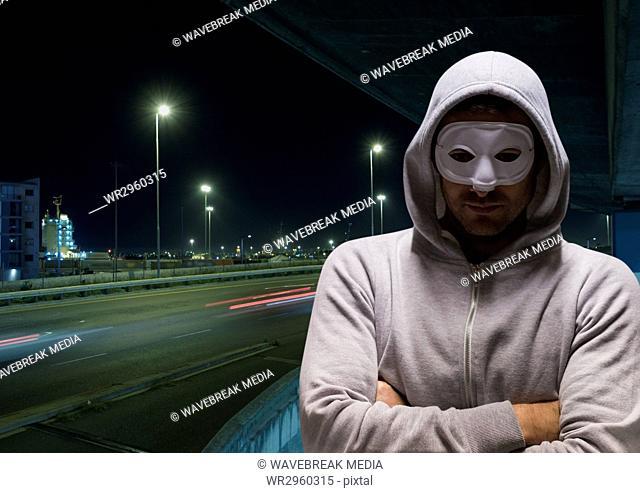Criminal man with night road