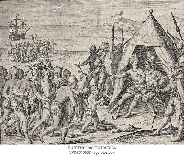 Theodor de Bry - Sir Walter Raleigh trying to establish friendship with natives indians - offerings