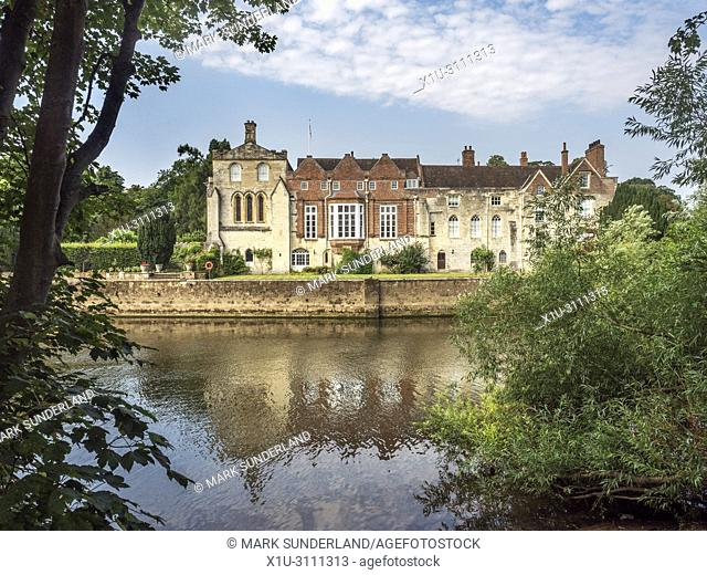Bishopthorpe Palace official residence of the Archbishop of York from Fulford Ings City of York Yorkshire England