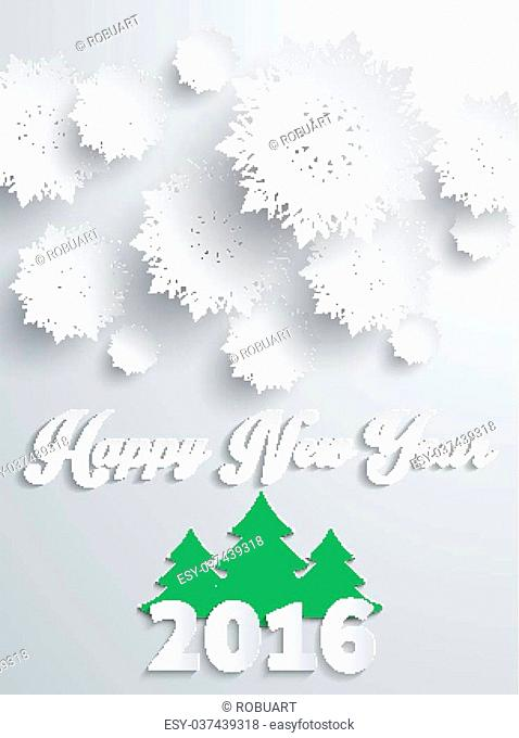 Happy new year 2016 snowflakes banner with tree. Greeting celebration, holiday annual winter, decor poster, decoration congratulation