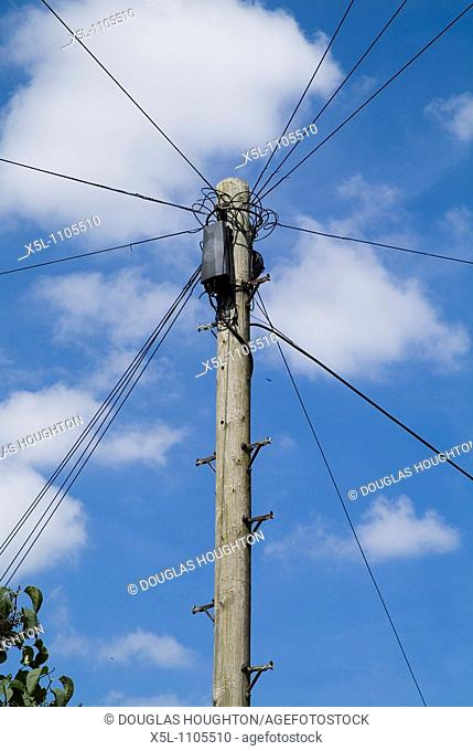 TELEPHONE COMMUNICATIONS Telephone wire junction box pole