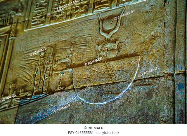 hieroglyphs and drawings in the temple of Hatshepsut in Egypt