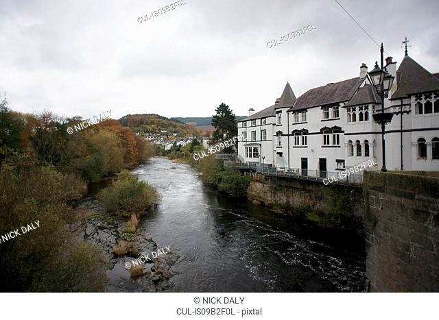 View of River Dee and traditional house, Llangollen, North Wales