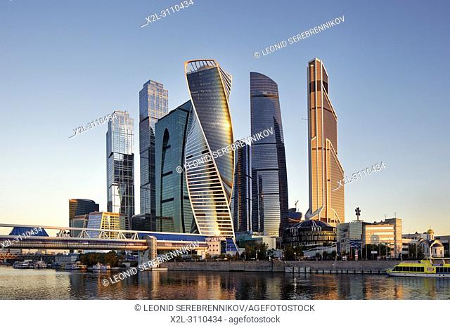 High rise buildings of Moscow International Business Centre (MIBC, or Moscow City) at sunrise. Moscow, Russia