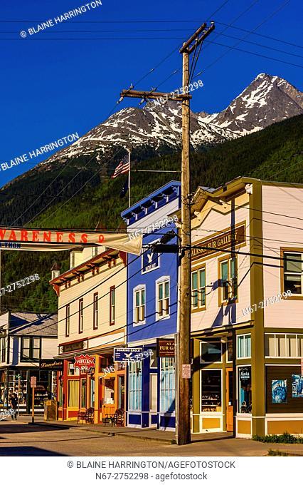 The main street, Broadway, in the Klondike Gold Rush National Historical Park, Skagway, Inside Passage, southeast Alaska USA