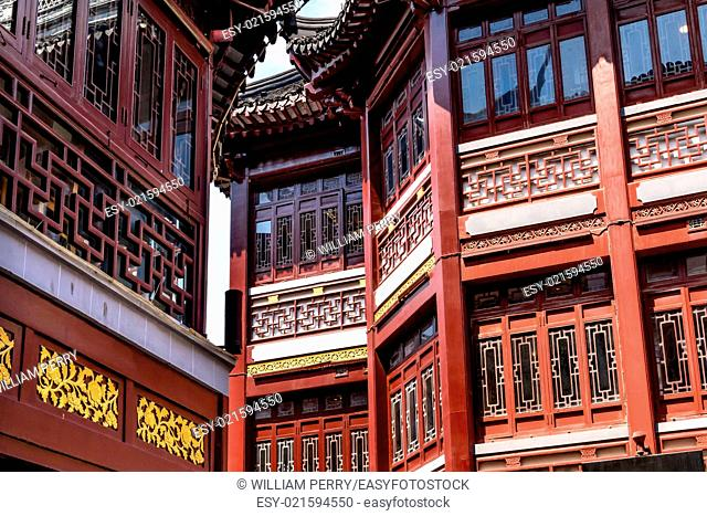 Old Shanghai Houses, Red Roofs, Yuyuan Old Town, Shanghai China