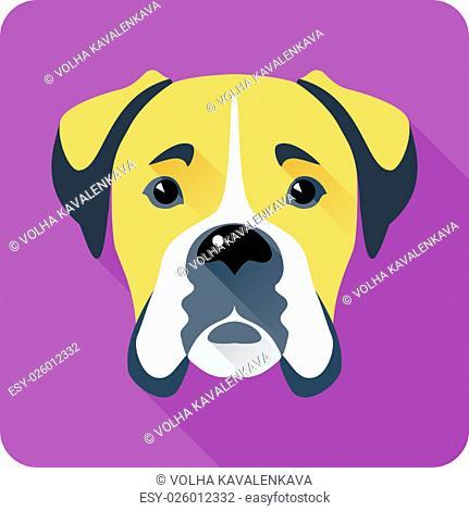 Vector serious dog Boxer icon flat design