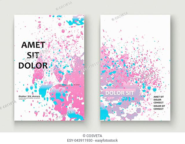 Pastel pink cyan explosion paint splatter artistic cover design. Fluid gradient dust splash texture background. Trendy creative template vector Cover Report...