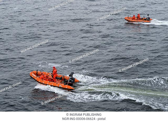 Lifeboats in the sea, Bowen Island, British Columbia, Canada