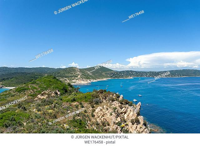 Landscape with view from Cap Taillat, Ramatuelle, Var, Provence-Alpes-Cote d`Azur, France, Europe