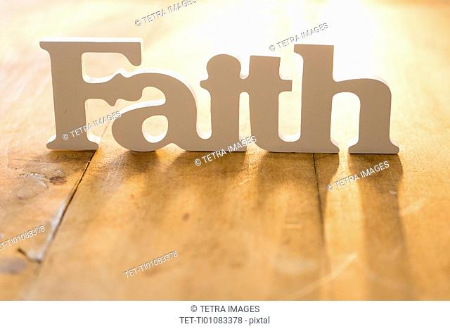 View of single word 'faith'