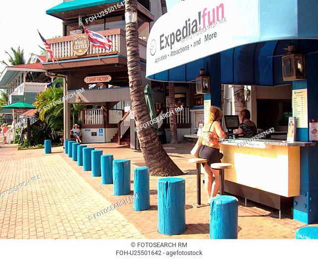 Lahaina, Maui, HI, Hawaii, downtown, The Wharf, information kiosk