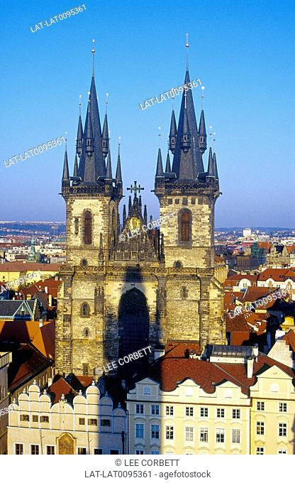 Old Town Square. Tyn church. Tall black pointed towers