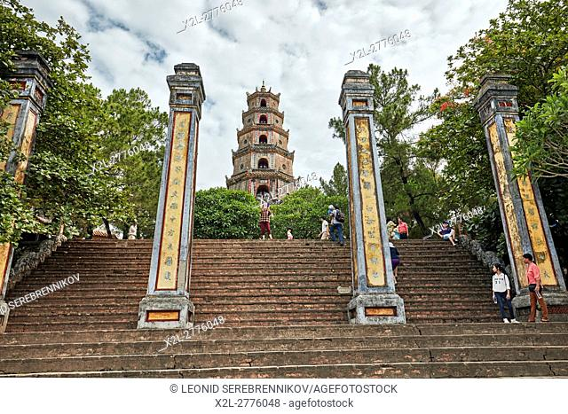 The pillars of the front entrance to the Thien Mu Pagoda. Hue, Vietnam