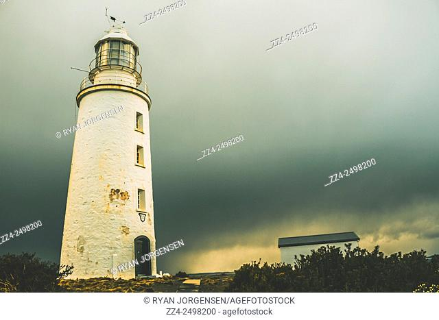 Retro filtered architectural photograph of the Cape Bruny Lighthouse located in South Bruny Island National Park, Tasmania, Australia