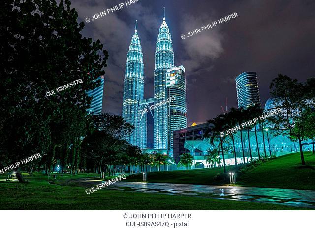 Petronas Towers illuminated at night, Kuala Lumpur, Malaysia
