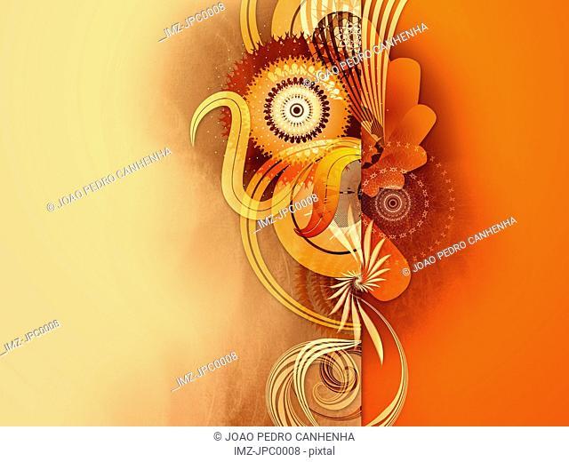 An orange abstract digital illustration