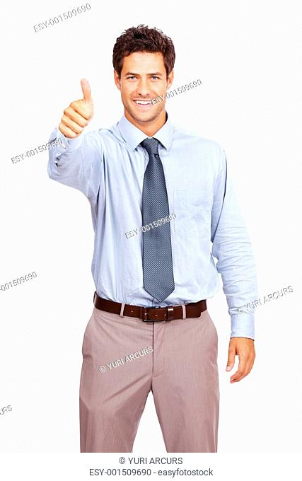 Portrait of a happy young male business executive gesturing an excellent job sign on white background
