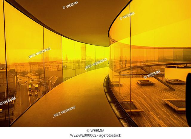 Denmark, Aarhus, colourful path on the roof of art museum ARoS